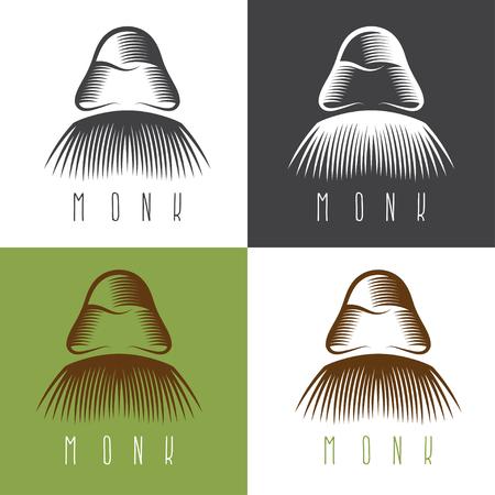 villain: monk face set vector simple design illustration