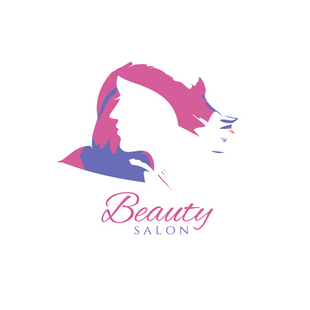 sophisticate: Conceptual logo silhouette of a woman with hair. Template design for beauty salon. Vector illustration