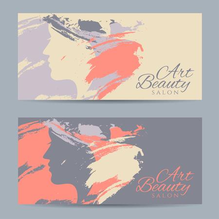 Ensemble de bannières avec silhouette conceptuelle d'une femme avec les cheveux. conception de modèle pour salon de beauté. Vector illustration