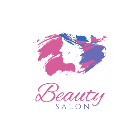 hairpiece: Conceptual logo silhouette of a woman with hair. Template design for beauty salon. Vector illustration