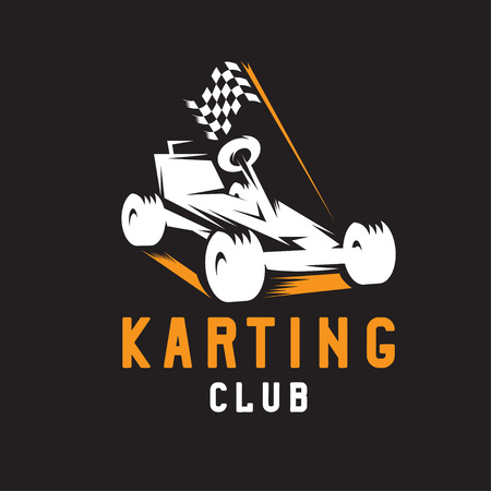 carting: kart with finish flag vector design template