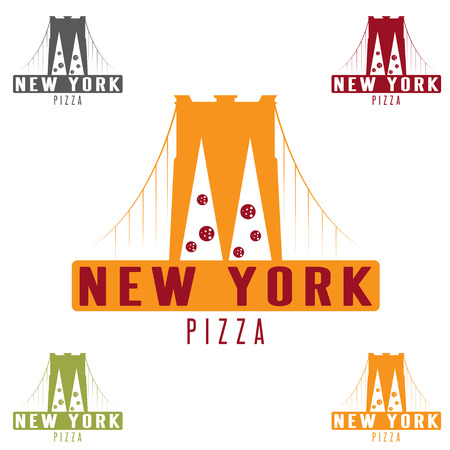 brooklyn: Brooklyn Bridge New York pizza concept vector design template Illustration