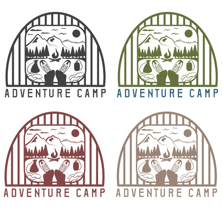 snow capped: adventure camp with elements of hiking and boots vintage labels set