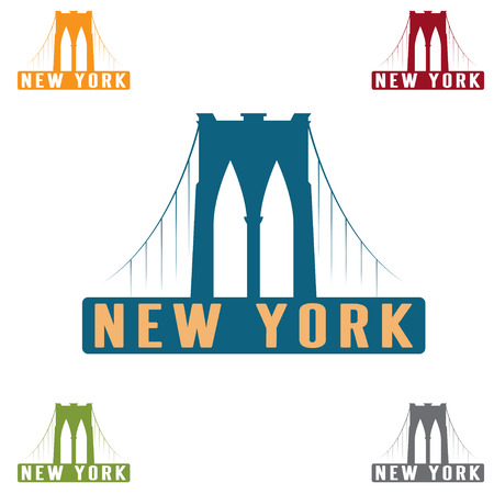 brooklyn: Brooklyn Bridge in New York city vector design template