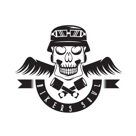 spurt: biker theme label with pistons ,wings and skulls
