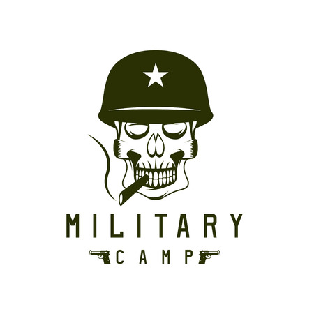 trooper: military camp emblem with smoking skull and guns