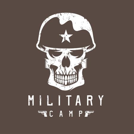 trooper: military camp grunge emblem with skull and guns Illustration