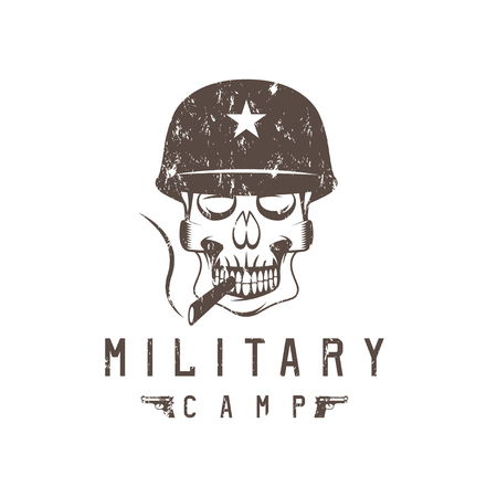 trooper: military camp grunge emblem with smoking skull and guns