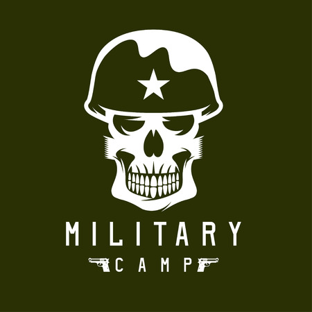 military camp emblem with skull and guns