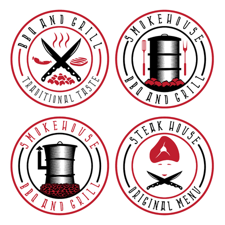 bbq barrel: vector illustration set of BBQ , steakhouse and smokehouse labels
