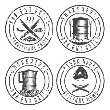 bbq barrel: vector illustration grunge set of BBQ , steakhouse and smokehouse labels