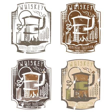 ウイスキー グランジ ラベル設定ホーム アルコール マシン油の樽の中  イラスト・ベクター素材