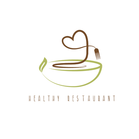 healthy restaurant concept with heart and plate