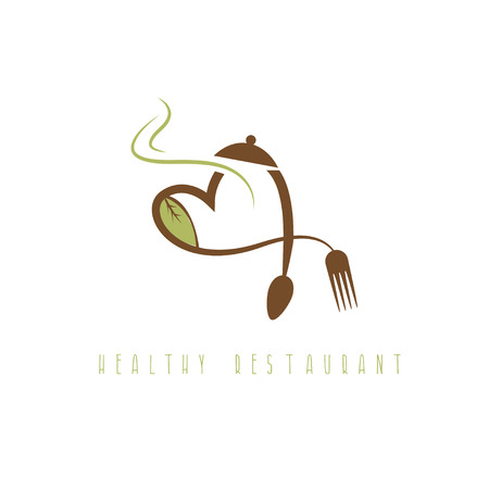 healthy restaurant concept with heart spoon and fork Illustration