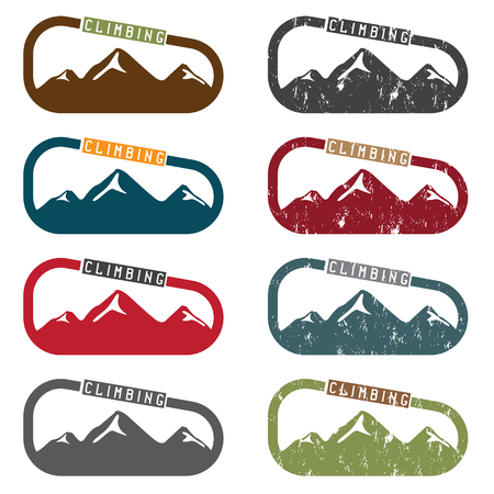 cragsman: climbing vector illustration set with mountains and carabiner