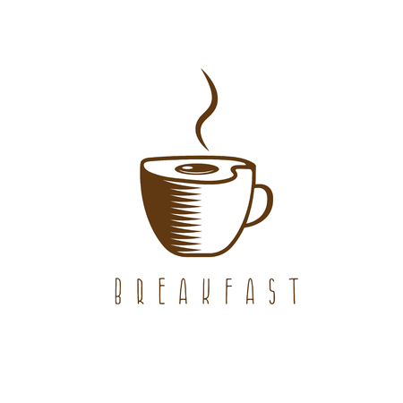 fried eggs: Concept breakfast vector template with fried eggs and coffee