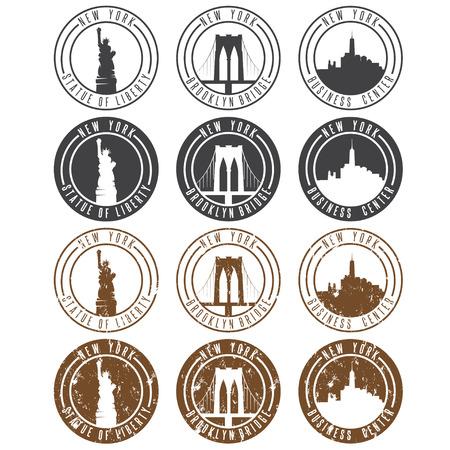 brooklyn bridge: vintage labels vector set with landmarks of New York City