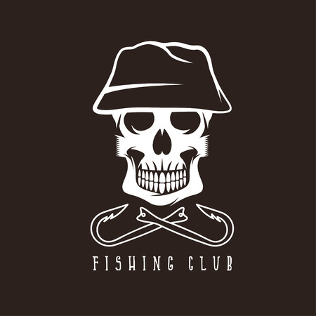 dead fish: fishing club emblem with skull in panama hat Illustration