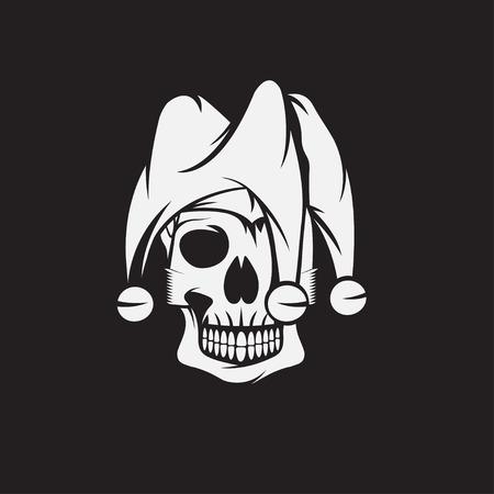 crâne dans chapeau de bouffon vecteur modèle de conception