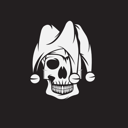 comedian: skull in jester cap vector design template