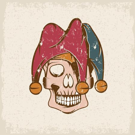 crâne dans chapeau de bouffon vecteur grunge modèle de conception Vecteurs
