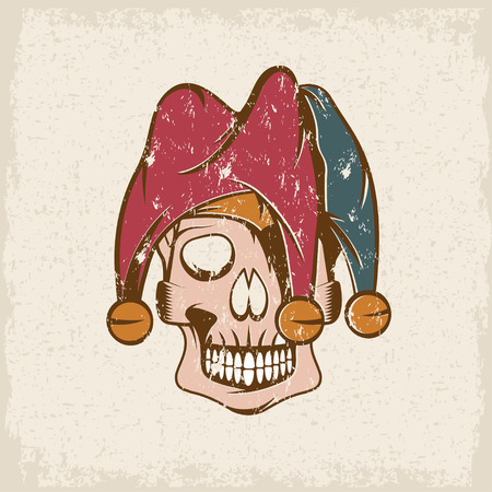 buffoon: skull in jester cap grunge vector design template