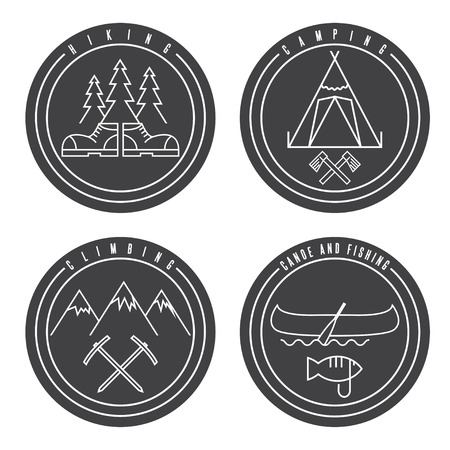 extremal: line art labels with canoe,camping,climbing and hiking