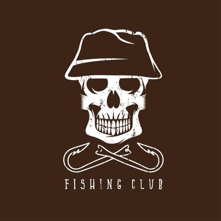 fishing club grunge emblem with skull in panama hat Illustration