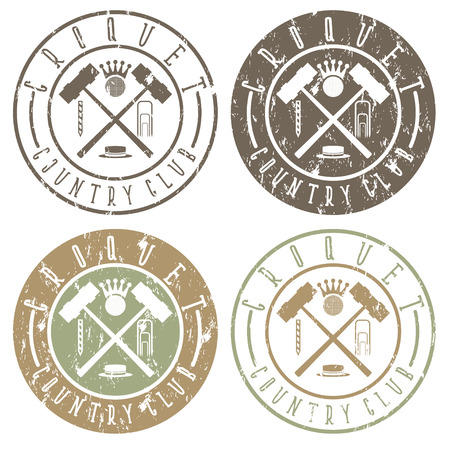 wicket gate: vintage grunge labels set of croquet country club