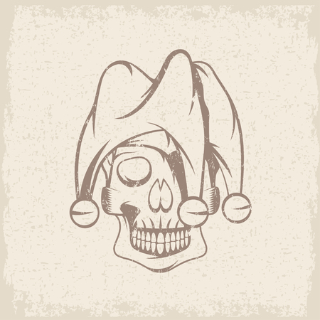 chuckling: skull in jester cap grunge vector design template