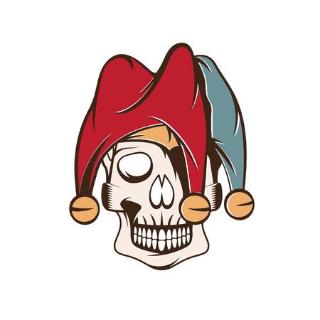 chuckling: skull in jester cap vector design template