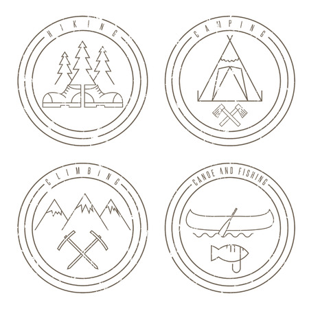pine creek: line art grunge labels with canoe,camping,climbing and hiking
