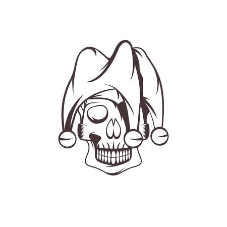 chuckle: skull in jester cap vector design template