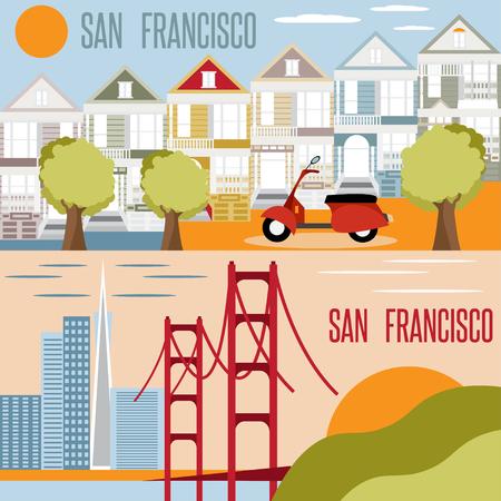historic: San Francisco landmarks horizontal flat design vector banners