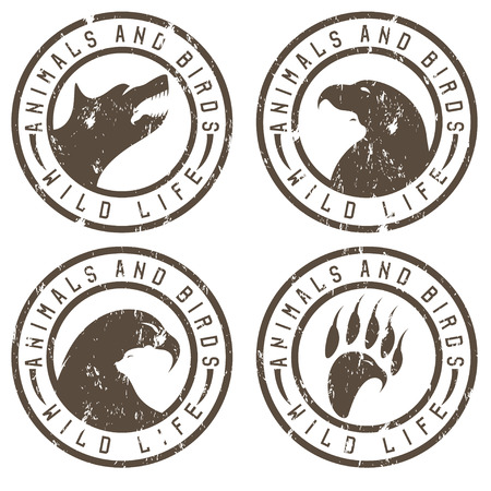 negative space: vintage grunge labels with animals and birds negative space concept