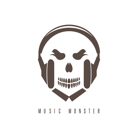 negative space: negative space concept with skull monster and headphones