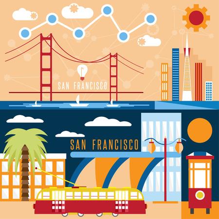 サンフランシスコのランドマーク水平フラット デザイン ベクター バナー