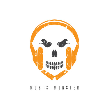 negative space: negative space grunge concept with skull monster and headphones Illustration
