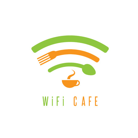 available: wi-fi cafe simple illustration with cup of coffee,spoon and fork