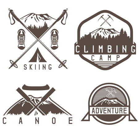 skiing , canoe and adventure camp vintage labels set