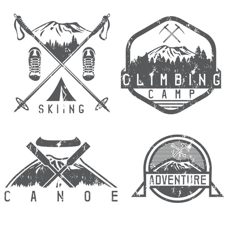extremal: skiing , canoe and adventure camp vintage grunge labels set Illustration