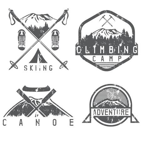 skiing , canoe and adventure camp vintage grunge labels set Illustration