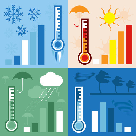 prognosis: thermometer and condition of weather horizontal flat design vector banners