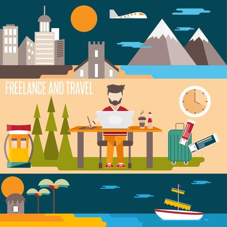 freelance: freelance and travel horizontal flat design vector banners Illustration