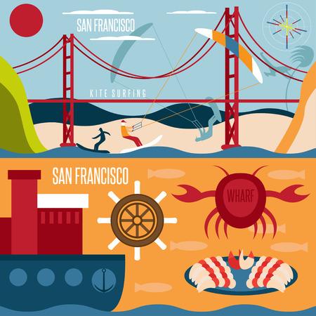 kite surfing: San Francisco landmarks , seafood and kite surfing horizontal flat design vector banners