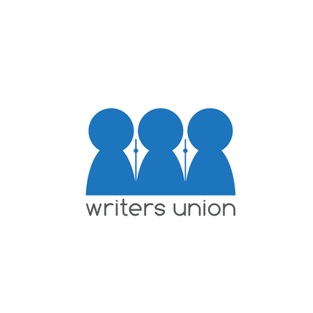 writers: writers union negative space concept vector design template