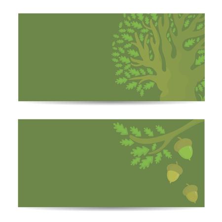Set Fahnen mit Eiche und Eicheln. Vektor-Illustration