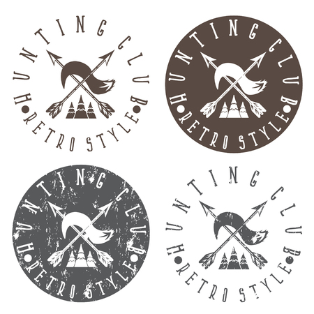 fang: hunting club labels set with arrows and fox tail