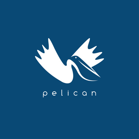 negative: pelican negative space concept vector design template