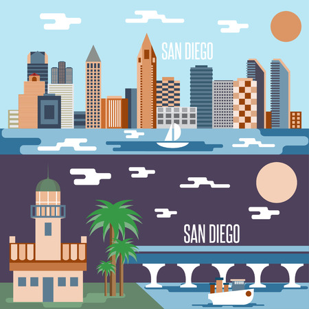 clouds scape: San Diego landmarks horizontal flat design vector banners